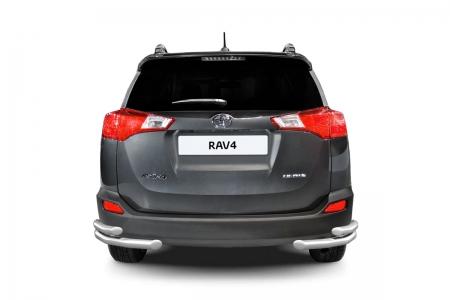 Защита заднего бампера двойная угловая d51/63мм Toyota Rav 4 (нерж) 2013